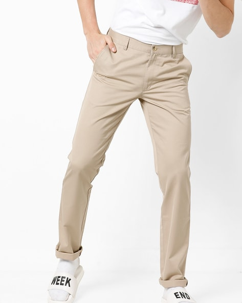 Slim Fit Flat-Front Trousers By Wills Lifestyle ( Khaki )