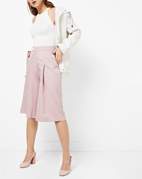 High-Rise Pleat-Front Culottes By AJIO ( Pink )