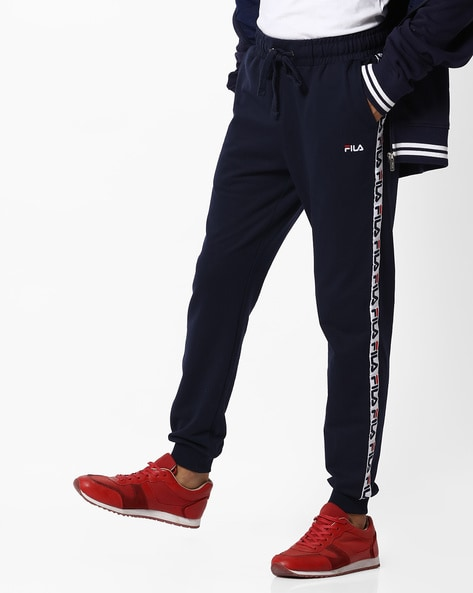 Mid-Rise Joggers With Contrast Branding By FILA ( Black )