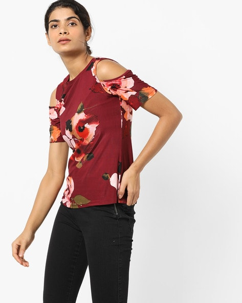 Floral Print Top With Cold-Shoulder Sleeves By And ( Red )