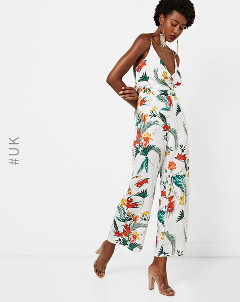 Strappy Floral Print Jumpsuit With Back Tie-Up By Love And Other Things ( Multi )