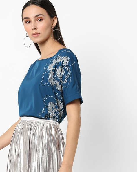 Floral Embroidered High-Low Top By Rena Love ( Green )