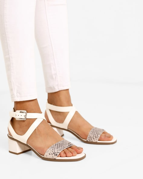 Reptilian Chunky Heeled Sandals With Ankle-Strap By CLARKS ( Multi )