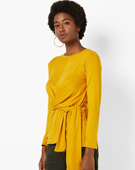 Round-Neck Top With Front Tie-Up By AJIO ( Yellow )