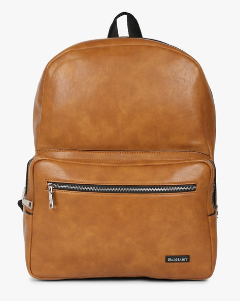 Textured Backpack With Adjustable Straps By BAD HABIT ( Tan )