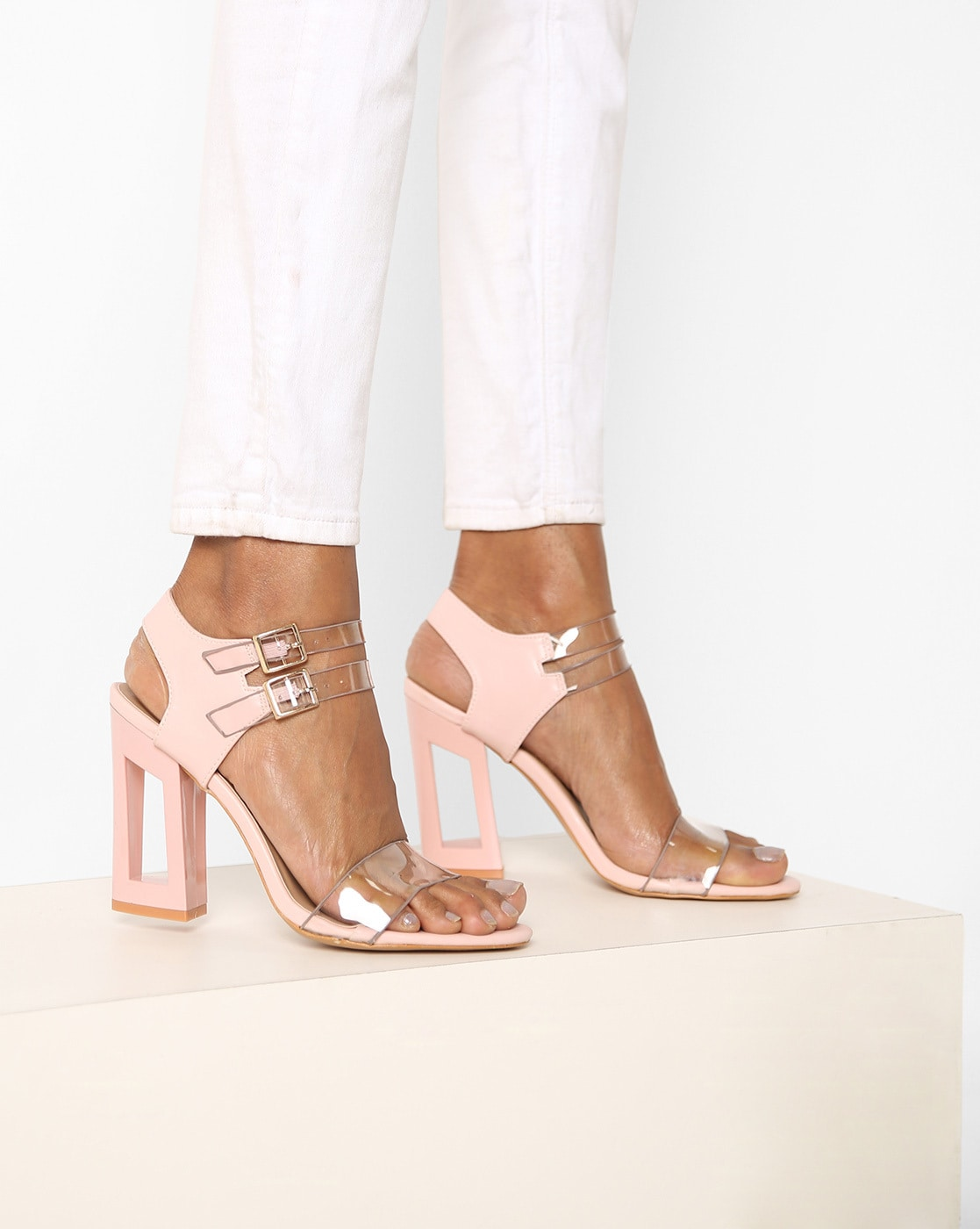 add56ac06cf Buy Pink Heeled Sandals for Women by AJIO Online