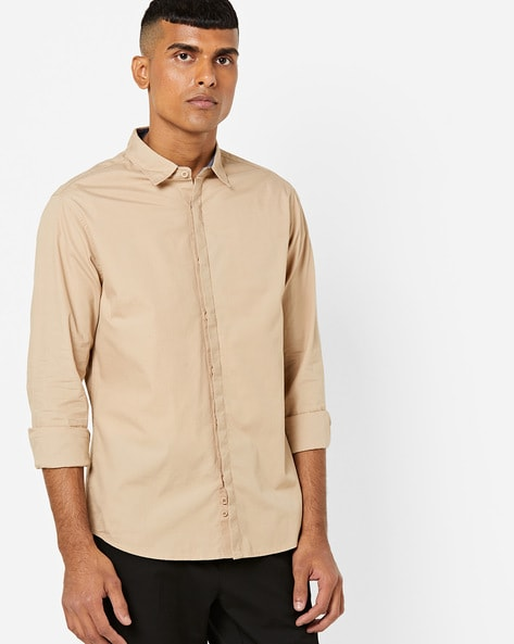 Slim Fit Shirt With Concealed Button Placket By AJIO ( Beige )