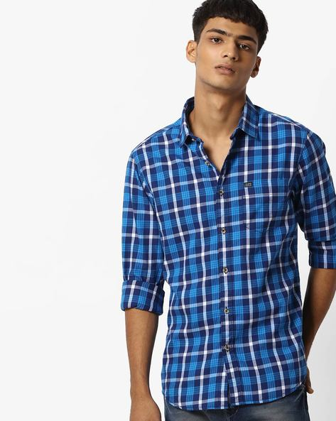 Slim Fit Checked Shirt With Patch Pocket By The Indian Garage Co ( Teal )