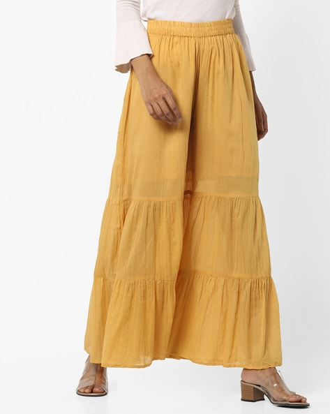 Flared Palazzo Pants With Elasticated Waist By AURELIA ( Gold )