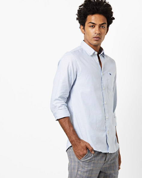 Striped Slim Fit Shirt With Patch Pocket By THE BEAR HOUSE ( White )