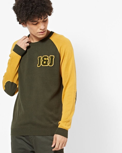 Slim Fit Crew-Neck Pullover With Raglan Sleeves By Jack & Jones ( Green )