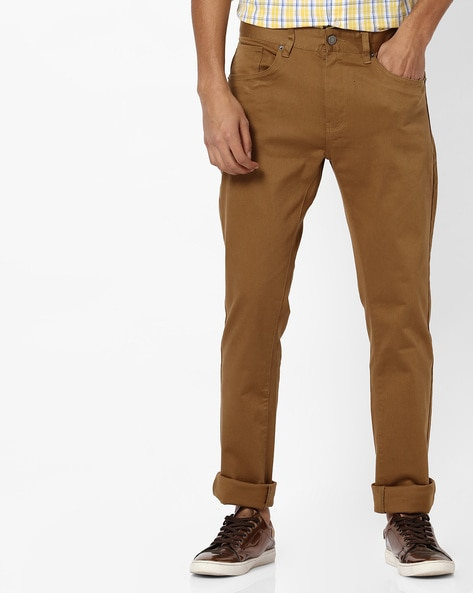 Slim Fit Flat-Front Trousers By RED TAPE ( Brown ) - 460219418001