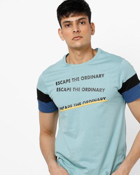 7f1295f3d10 AJIO Aqua Blue Crew Slim Fit Typographic Print Crew-Neck T-shirt