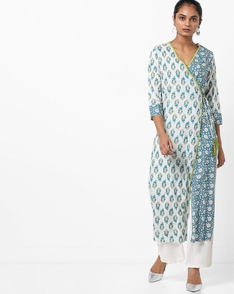 Printed Angrakha Kurta With Tassel Tie-Up By Jaipur Kurti ( Offwhite )