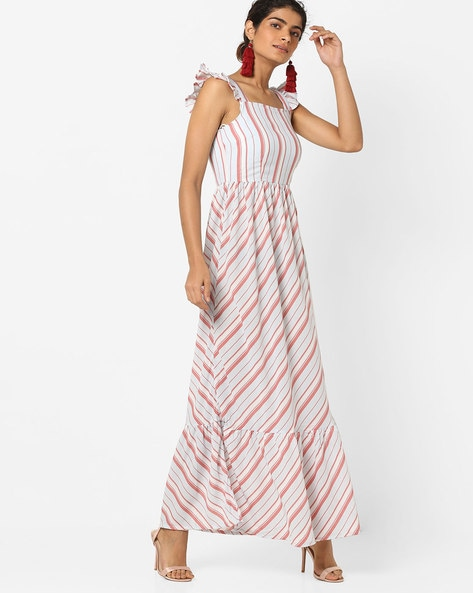 Striped Maxi Dress With Ruffled Sleeves By Vero Moda ( White )