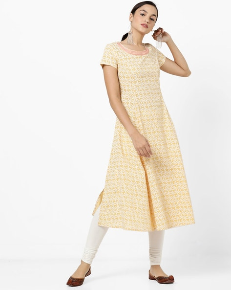 Floral Print A-line Kurta With Embroidered Neckline By AJIO ( Yellow )