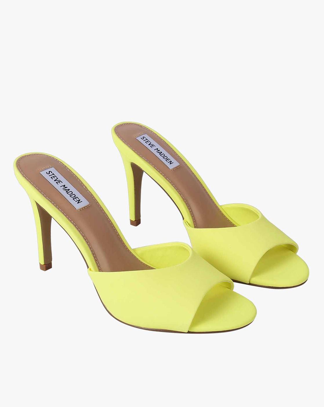 pausa Guión sociedad  Buy Neon Yellow Heeled Sandals for Women by STEVE MADDEN Online | Ajio.com
