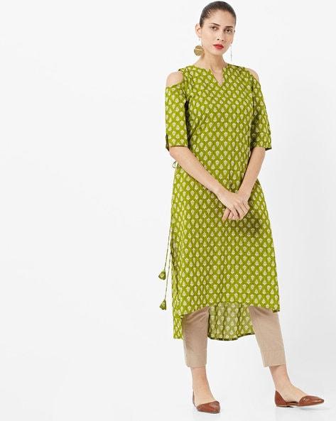 Printed High-Low Straight Kurta By GERUA ( Green )