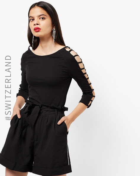 Knitted Top With Cut-Out Sleeves By TALLY WEiJL ( Black )