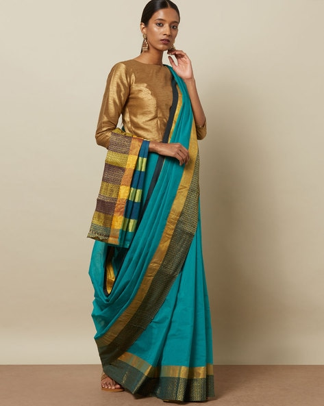 1ae74cc6cb7b89 Buy Teal Green Sarees for Women by Indie Picks Online | Ajio.com
