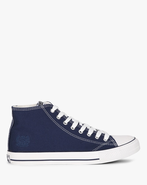 Syd Mid-Top Canvas Lace-Ups By British Knights ( Navyblue )