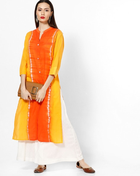 Tie & Dye Straight Kurta With Open Collar By ETHNIC CURRY ( Mustard )