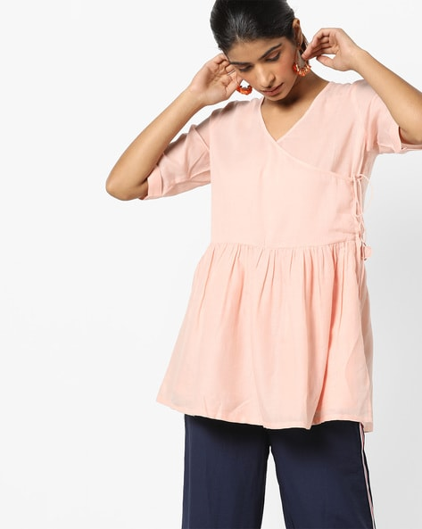 Angrakha Tunic With Tie-Up By Project Eve IW Casual ( Peach )