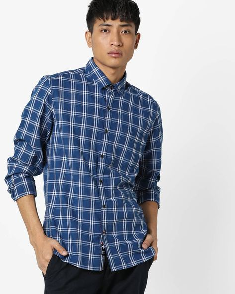 Checked Slim Fit Shirt With Patch Pocket By NETPLAY ( Navy )
