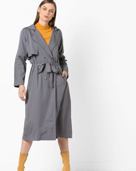 Project Eve WW Casual Grey Trenches   Swings Double-Breasted Trench Coat  with Notched Lapel 48b205b2c