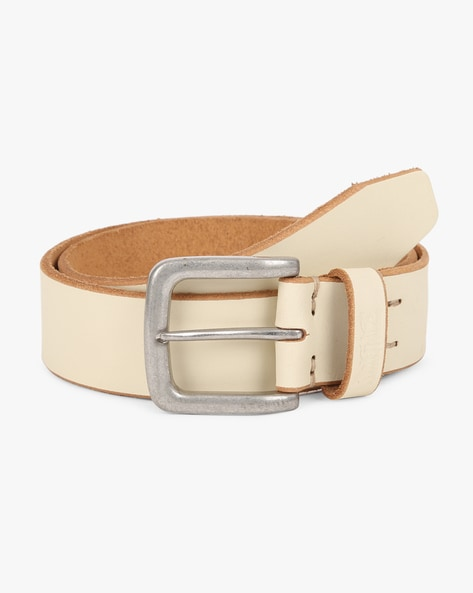 Leather Belt With Buckle Closure By LEVIS ( White )