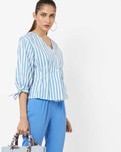 Striped V-Neck Top With Tie-Up Sleeves By AJIO ( Blue )