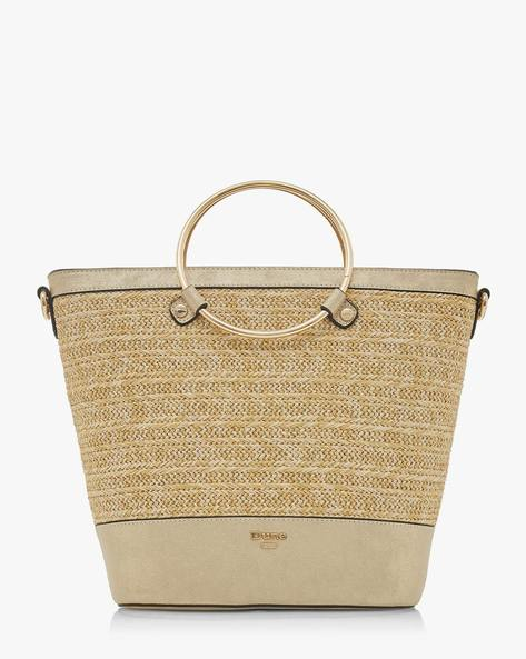 Diggyy Textured Tote Bag With Metallic Handles By Dune London ( 091 )