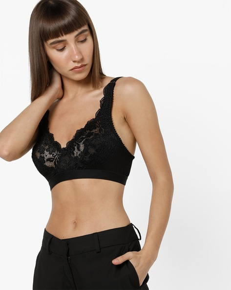 Floral Pattern Lace Full-Coverage Bra By Floret ( Black )