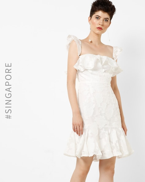 Floral Ruffled Sheath Dress By MDS ( White )