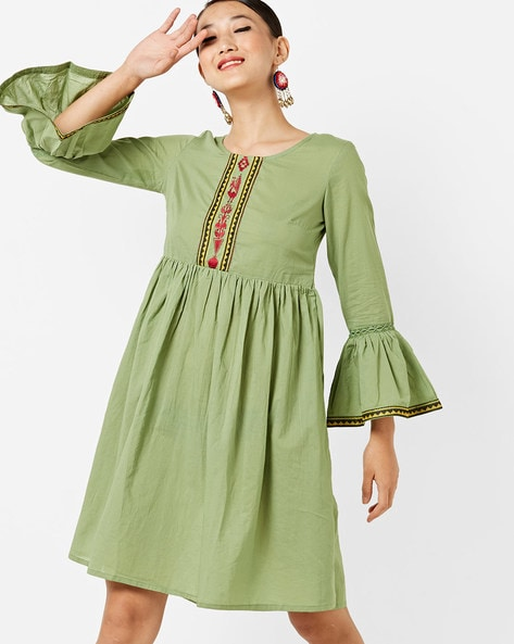 Flared Pleated Dress With Flounce Sleeves By AJIO ( Green )