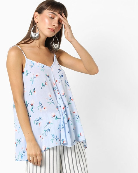 Strappy Floral Top By Oxolloxo ( Blue )