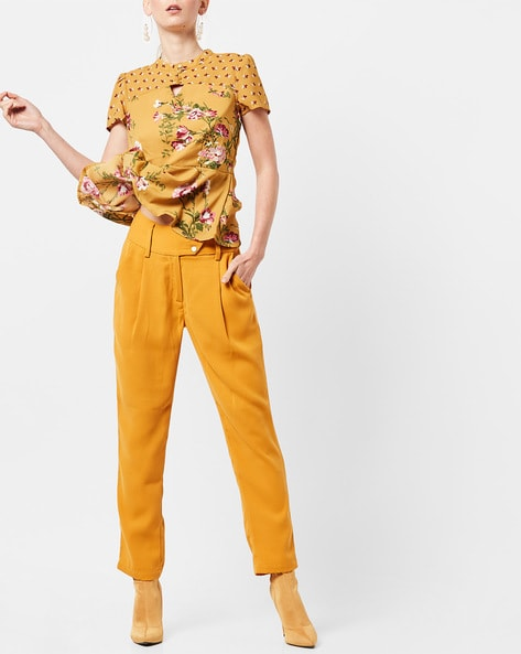 High-Waist Pleated Slim Fit Ankle-Length Trousers By AJIO ( Mustard )