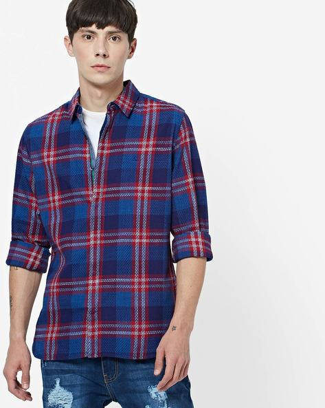 Checked Slim Fit Shirt With Spread Collar By UNITED COLORS OF BENETTON ( Blue )