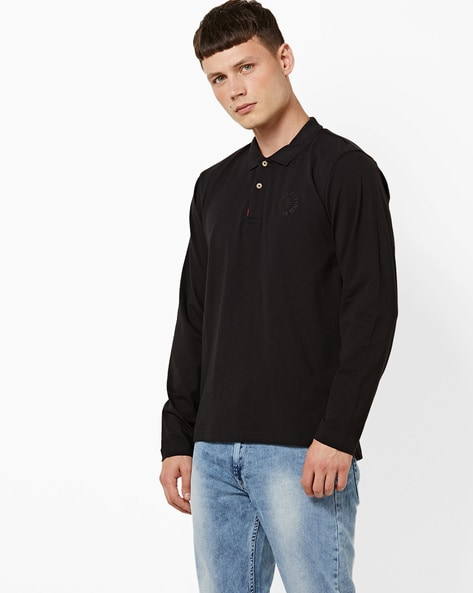 Cotton Polo T-shirt With Full Sleeves By FLYING MACHINE ( Black )