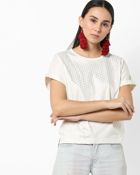 Embossed T-shirt With Upturned Hems By Lee ( White )