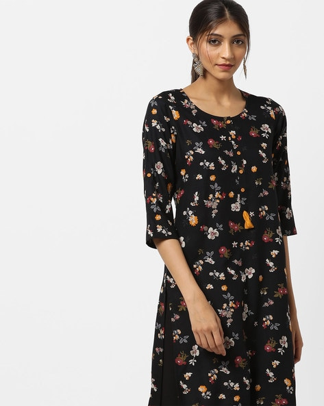 c6e9c8628f3 AVAASA MIX N  MATCH Black Straight Floral Print High-Low Straight Kurta