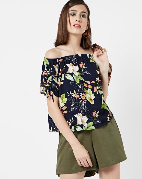 Floral Print Off-Shoulder Top By Only ( Blue )