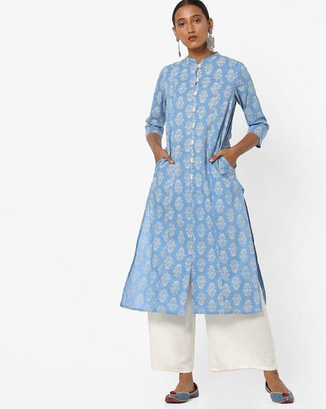Floral Print Button-Front Straight Kurta By AJIO ( Blue )