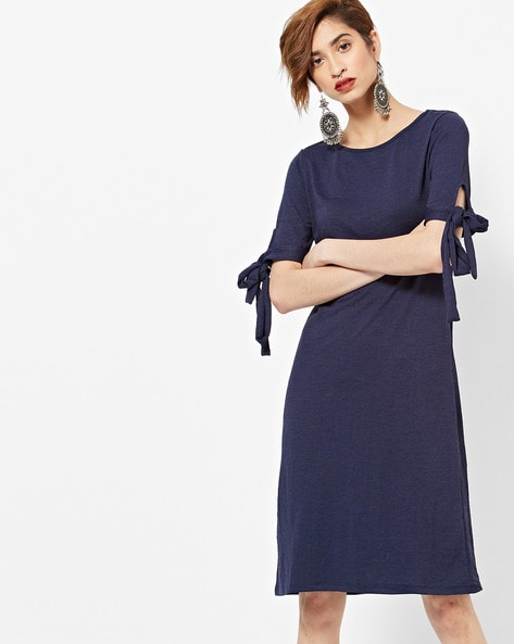 Shift Dress With Tie-Up Sleeves By Femella ( Navyblue )