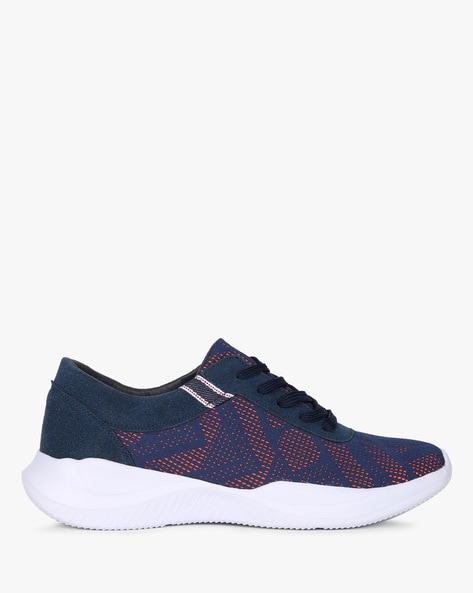 Lace-Up Sneakers With Perforations By AJIO ( Navy )