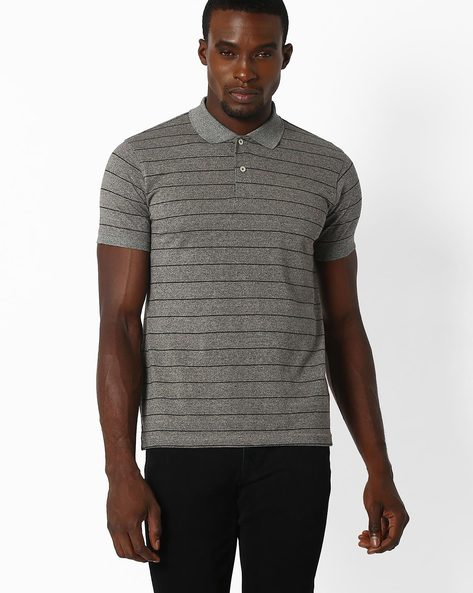 Striped Polo T-shirt By NETPLAY ( Charcoal )