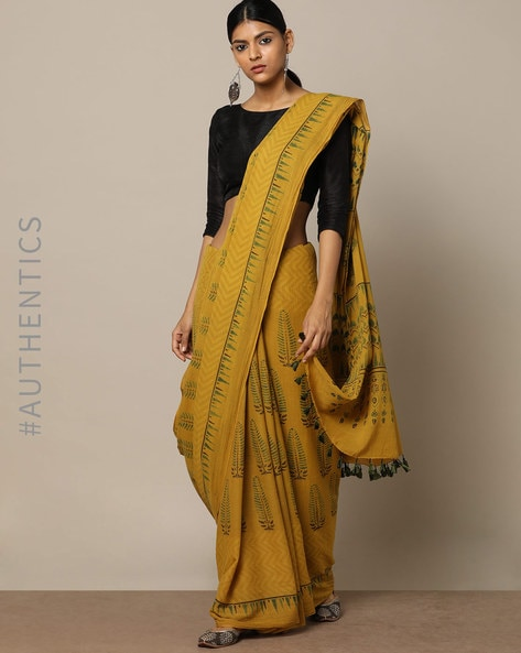 db413c76d2 Buy Mustard Yellow Sarees for Women by Indie Picks Online   Ajio.com