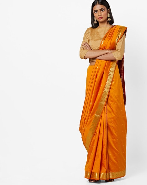 Woven-Design Saree With Contrast Pallu By CHHABRA 555 ( Mustard )