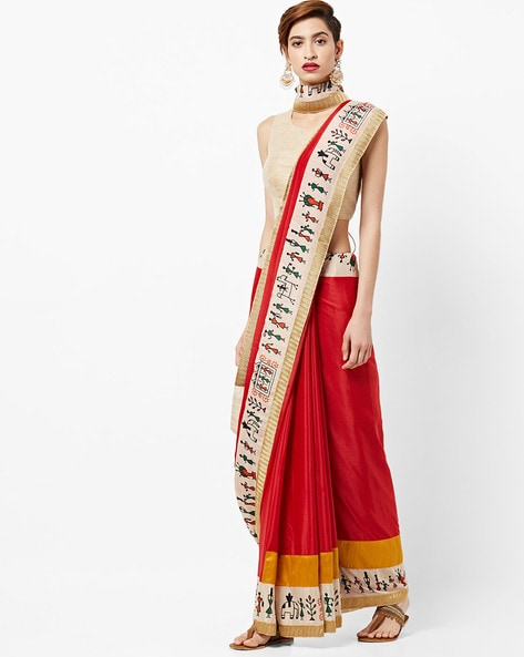 Saree With Contrast Stick-Figure Print Border By Vastrangi ( Red )