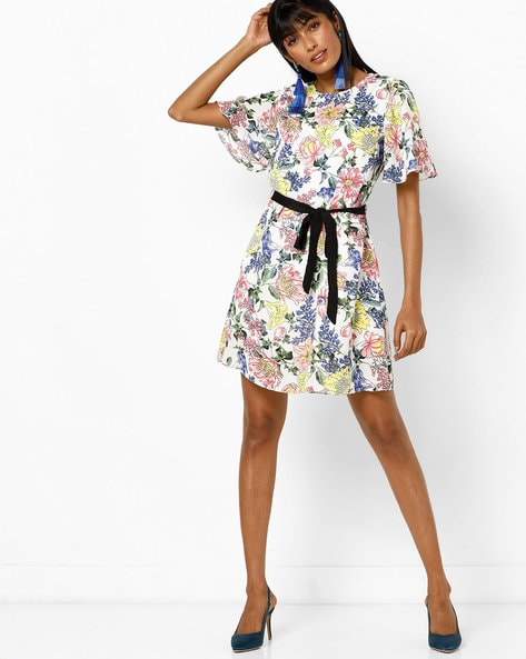 Floral Print Shift Dress With Tie-Up By AJIO ( White )